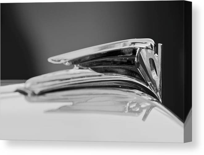 1935 Ford V8 Canvas Print featuring the photograph 1935 Ford V8 Hood Ornament 4 by Jill Reger
