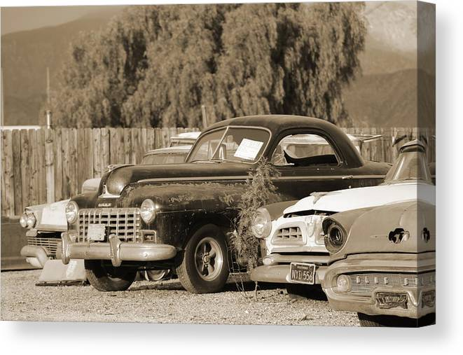 Junk Yard Canvas Print featuring the photograph 1946 Dodge In Sepia by Colleen Cornelius