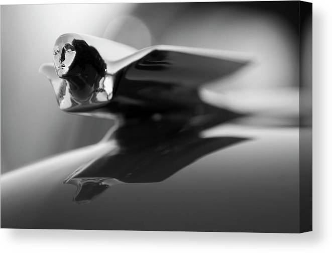 1947 Cadillac Canvas Print featuring the photograph 1947 Cadillac Hood Ornament 2 by Jill Reger