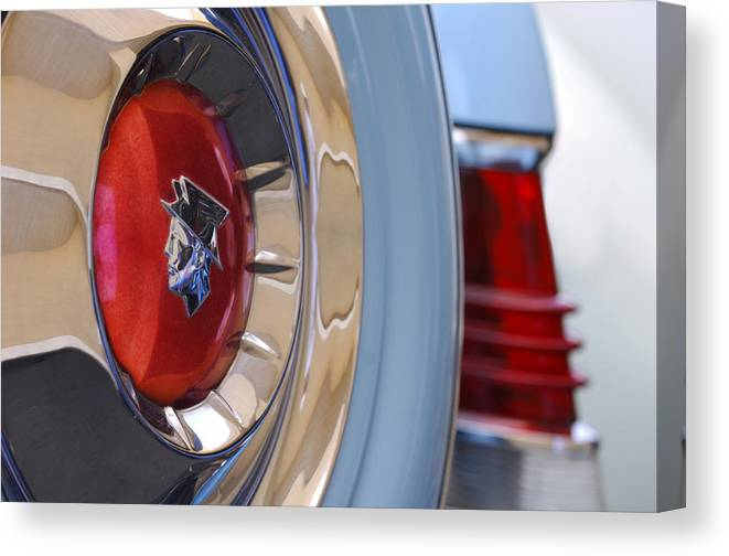 Car Canvas Print featuring the photograph 1954 Mercury Monterey Merco Matic Spare Tire by Jill Reger