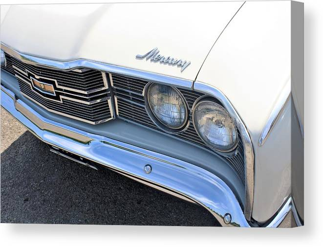 Auto Canvas Print featuring the photograph 1969 Mercury Montego Mx Grille With Headlights And Logos by WHBPhotography Wallace Breedlove