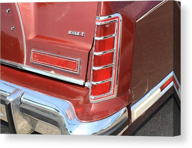Auto Canvas Print featuring the photograph 1977 Lincoln Continental Mark V With Tail Lights And Logo by WHBPhotography Wallace Breedlove