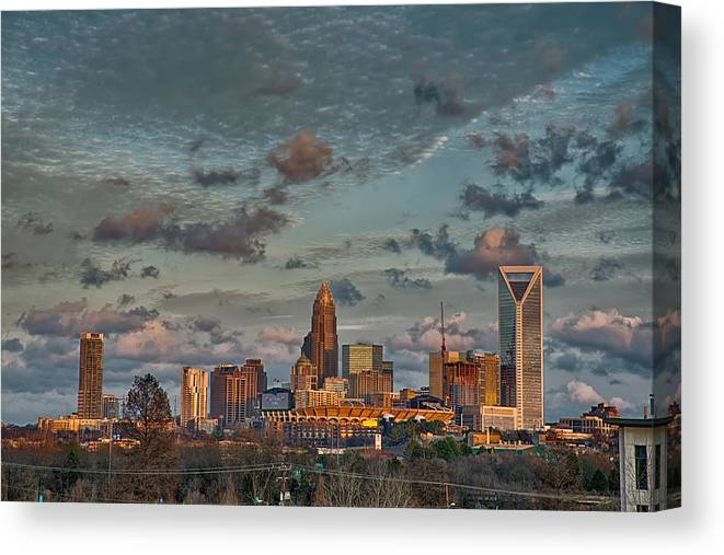 America Canvas Print featuring the photograph Cotton Candy Sky Over Charlotte North Carolina Downtown Skyline by Alex Grichenko