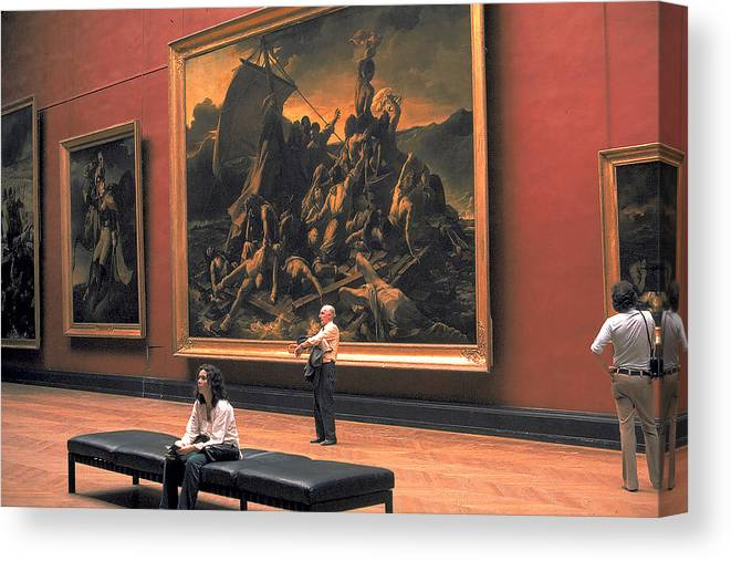 Large Canvas Print featuring the photograph Louvre Museum In Paris by Carl Purcell