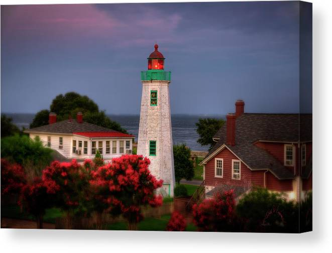 Old Point Comfort Lighthouse Canvas Print featuring the photograph Old Point Comfort Lighthouse by Williams-Cairns Photography LLC