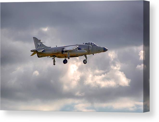 Royal Navy Canvas Print featuring the photograph Royal Navy Sea Harrier by Chris Smith