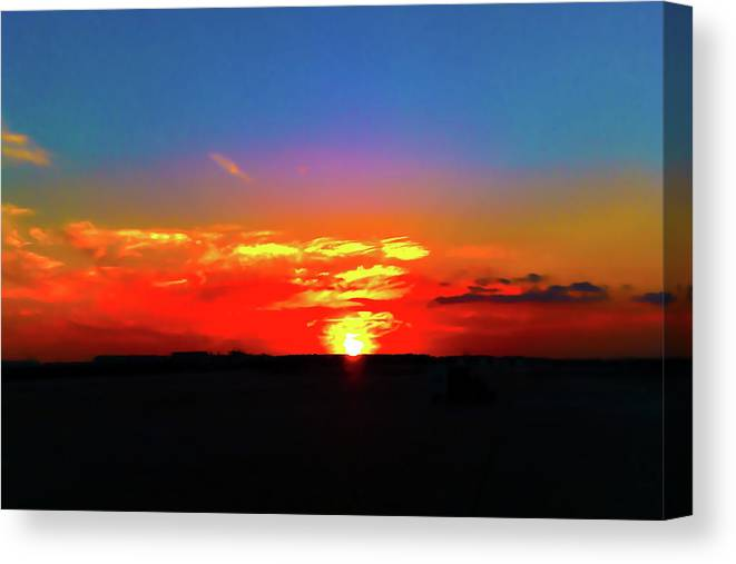 Landscape Canvas Print featuring the photograph Sunset At Work by Lloyd Maxwell Jr