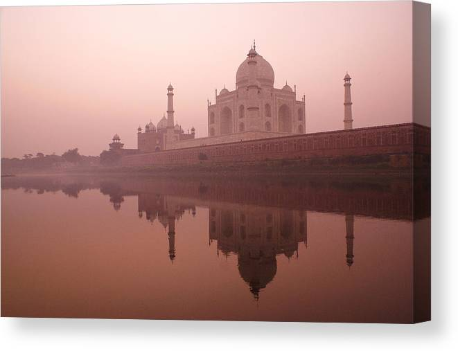 Taj Mahal Canvas Print featuring the photograph Taj Mahal At Dawn by Michele Burgess