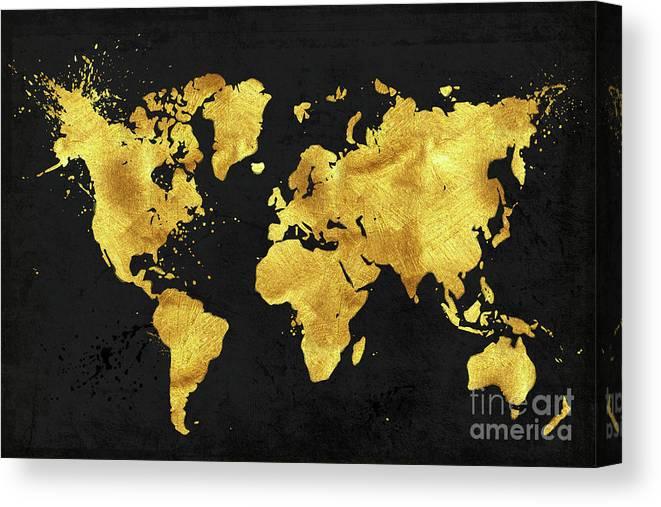 24 Karat World In Black Gold Metal World Map Canvas Print Canvas