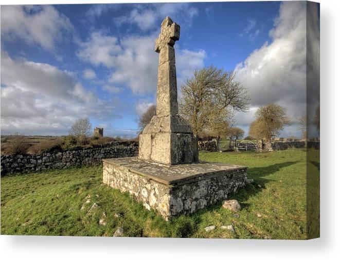 Dysert Canvas Print featuring the photograph Dysert O Dea Celtic Cross by John Quinn