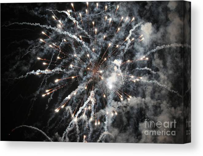 Fireworks Canvas Print featuring the photograph Fireworks by Diane Falk
