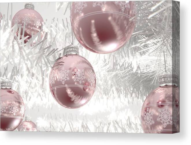 Bauble Canvas Print featuring the digital art Rose Gold Christmas Baubels by Allan Swart