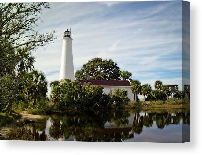 Color Photograph Canvas Print featuring the photograph St Marks Lighthouse by Wayne Denmark