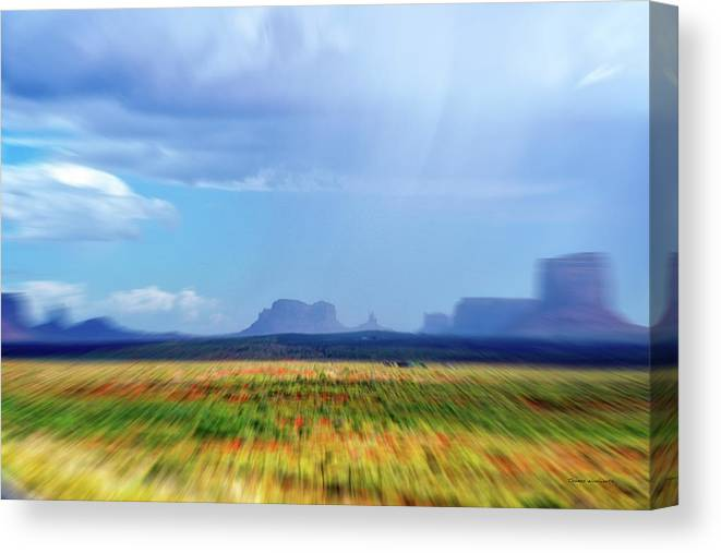 Monument Valley Canvas Print featuring the mixed media 4 Wheeling With The Storm Cell Approaching Monument Valley 06 4 by Thomas Woolworth