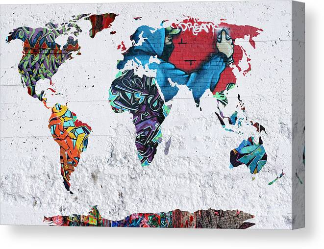 Map Of The World Canvas Print / Canvas Art by Mark Ashkenazi