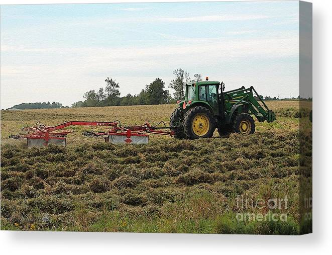 Mccombie Canvas Print featuring the painting Raking Hay by J McCombie
