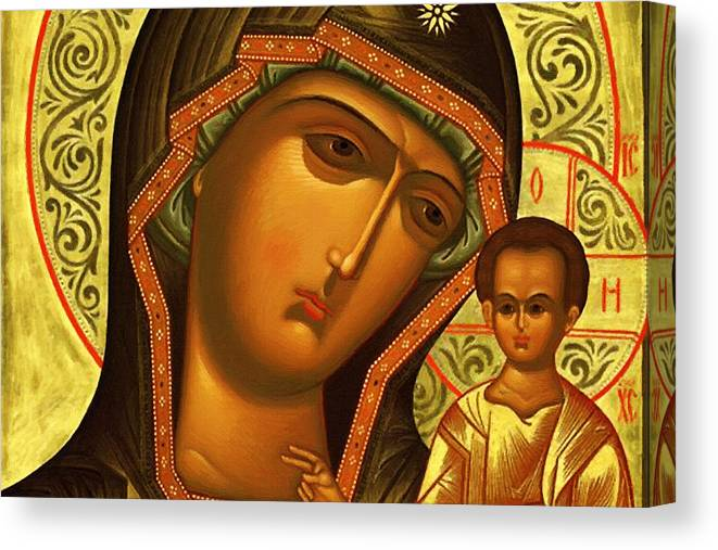 Virgin And Child Canvas Print featuring the digital art Mary And Child Art by Carol Jackson