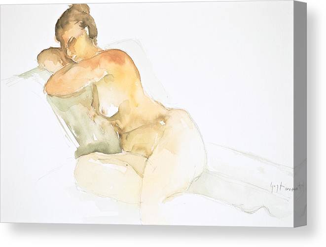 Canvas Print featuring the painting Nude Series by Eugenia Picado