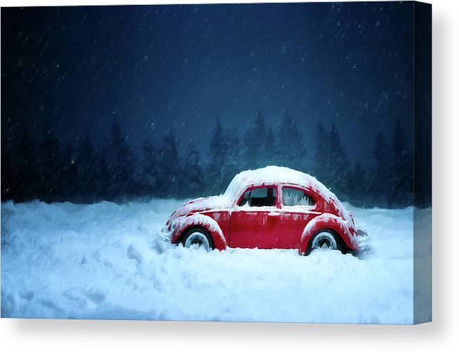 Volkswagen Canvas Print featuring the painting A Bug In The Snow by David Dehner