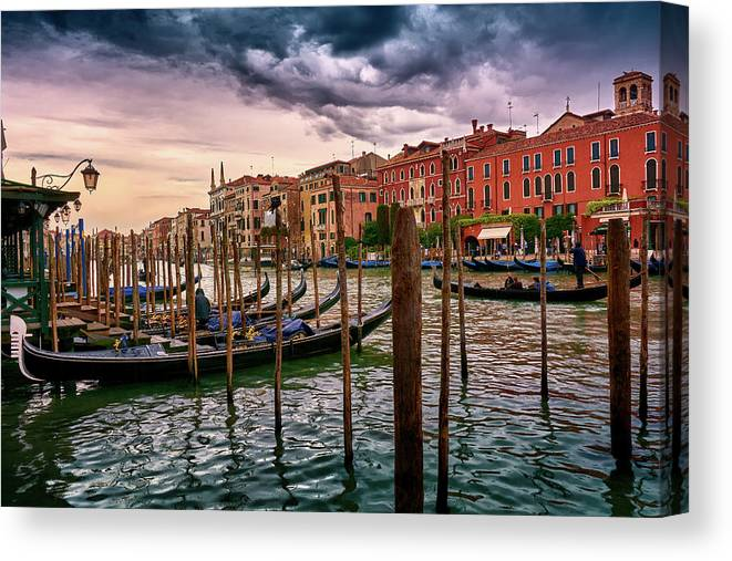 Europe Canvas Print featuring the photograph Surreal Seascape On The Grand Canal In Venice, Italy by Fine Art Photography Prints By Eduardo Accorinti