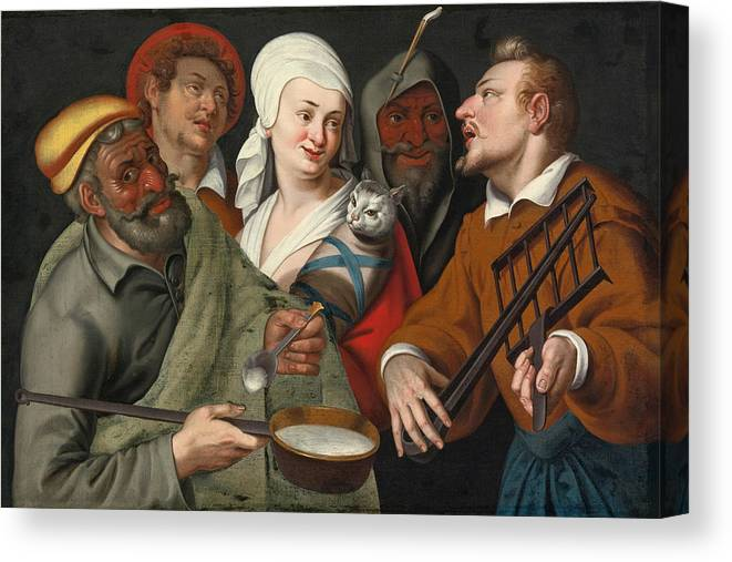 Circle Of Bartolomeo Passerotti Canvas Print featuring the painting A Lady Holding A Swaddled Cat A Man With A Pan Of Porridge Another Playing With Fire Irons And Two O by Circle of Bartolomeo Passerotti