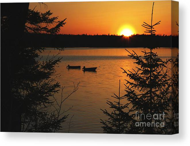Boats Canvas Print featuring the photograph A Maine Sunset by Katie W