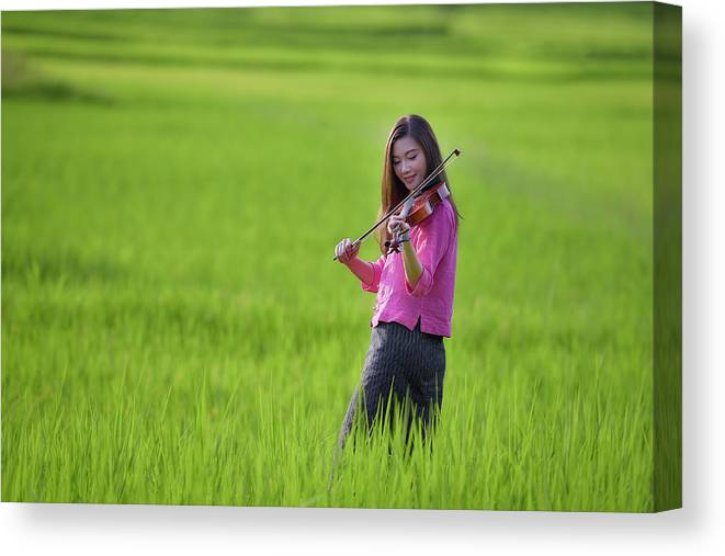 Violin Canvas Print featuring the photograph A Young Girl In A Folk Costume Plays A Vivaro In A Green Rice Fi by Somchai Sanvongchaiya