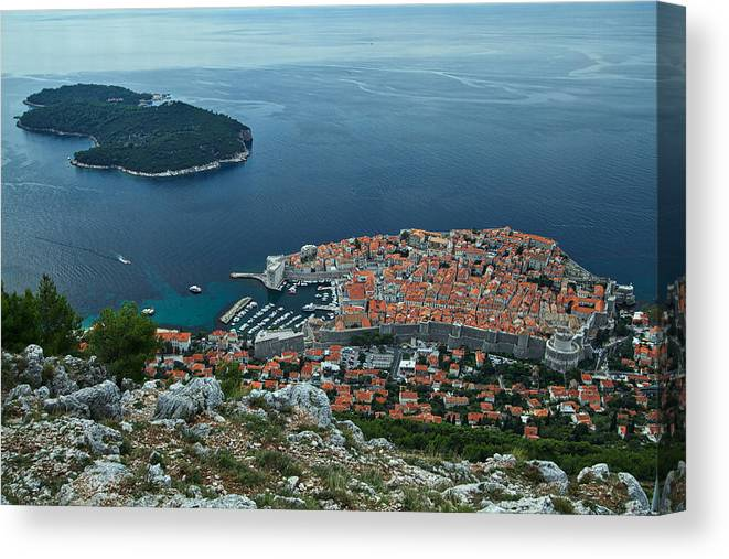Dubrovnik Canvas Print featuring the photograph Above Dubrovnik - Croatia by Stuart Litoff