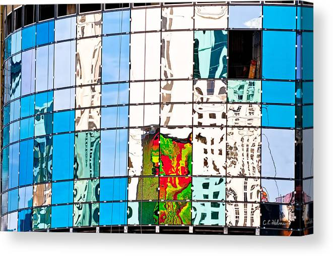 Building Canvas Print featuring the photograph Abstract In The Windows by Christopher Holmes