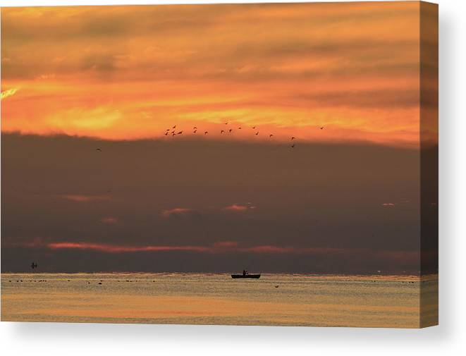 Abstract Canvas Print featuring the photograph Activity On Lake Simcoe by Lyle Crump