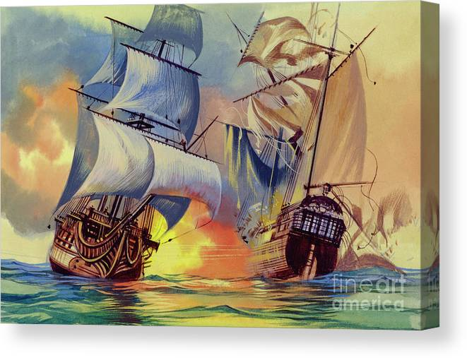 History Canvas Print featuring the painting Admiral Hood's Fleet In The West Indies by Ron Embleton