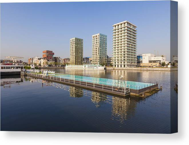 Modern Canvas Print featuring the photograph Afloat Swimming Pool by Werner Dieterich