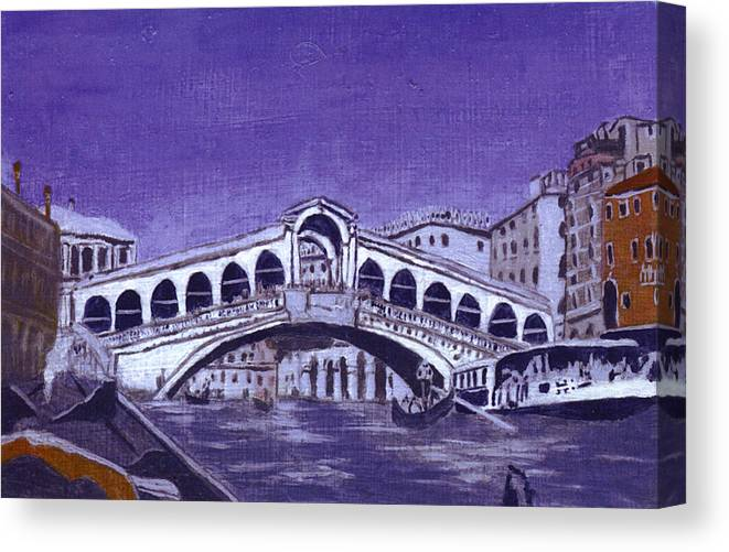 Landscape Canvas Print featuring the painting After Canal Grande With The Rialto Bridge by Hyper - Canaletto