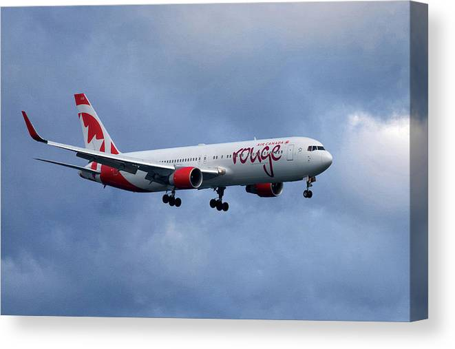 Air Canada Canvas Print featuring the photograph Air Canada Rouge Boeing 767 by Smart Aviation