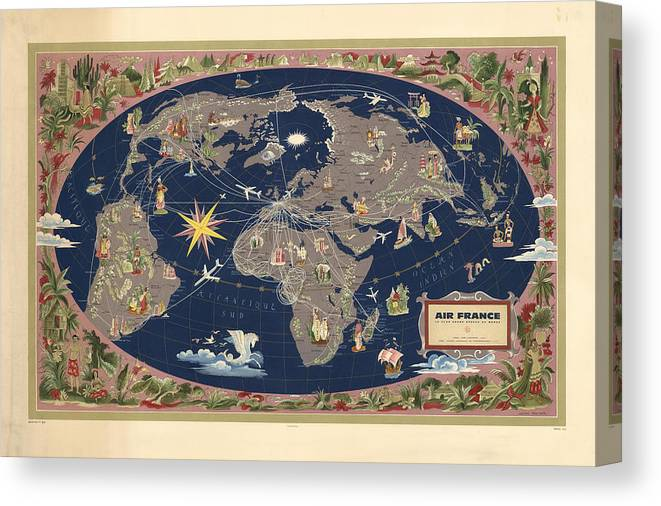 Air France - Illustrated Map Of The Air Routes By Lucien Boucher -  Historical Map Of The World Canvas Print