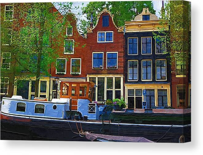 Amsterdam Canvas Print featuring the photograph Along The Canal by Tom Reynen