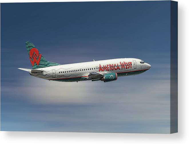 America West Canvas Print featuring the mixed media America West Boeing 737-300 by Smart Aviation