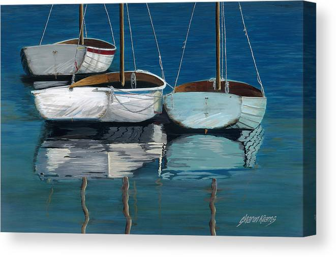 North Carolina Canvas Print featuring the painting Anchored Reflections I by Sharon Kearns
