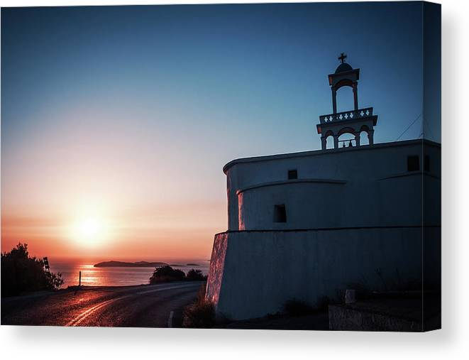 Andros Canvas Print featuring the photograph Andros Island Sunset - Greece by Alexander Voss