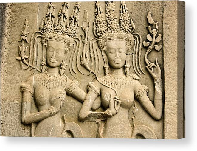 Asia Canvas Print featuring the photograph Angkor Wat Relief by Michele Burgess