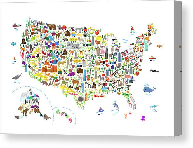 Animal Map Of United States For Children And Kids Canvas Print