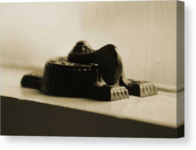Sepia Tones Canvas Print featuring the photograph Antique Iron Window Lock In Sepia by Colleen Cornelius