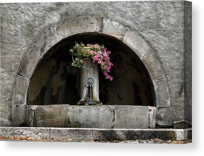 Arch Canvas Print featuring the photograph Arched Fountain by Joe Bonita