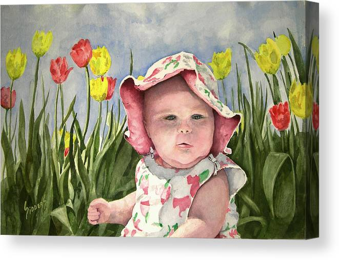 Kids Canvas Print featuring the painting Audrey by Sam Sidders