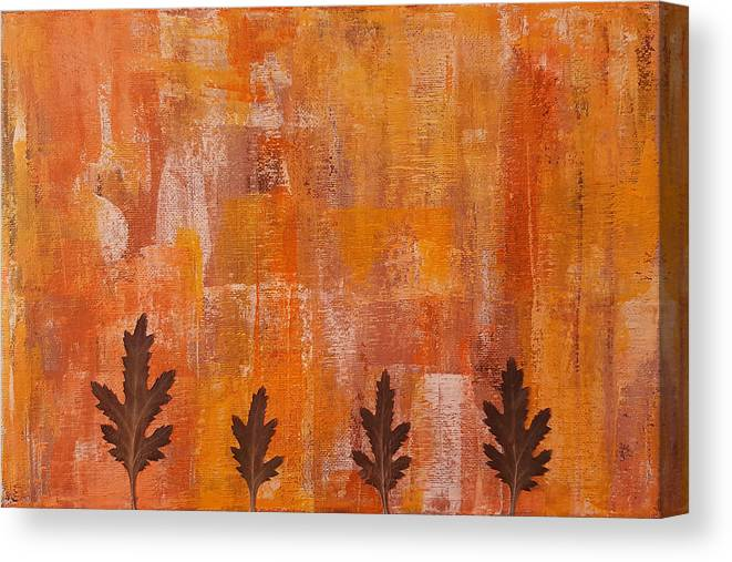 Leaves Canvas Print featuring the painting Autumn Abstract Art by Kathleen Wong