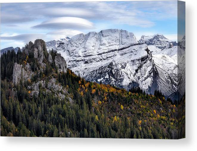 Mountians Canvas Print featuring the photograph Autumn In Switzerland by Nedjat Nuhi