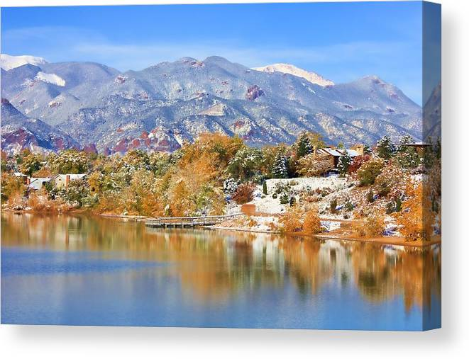 Landscape Canvas Print featuring the photograph Autumn Snow At The Lake by Diane Alexander