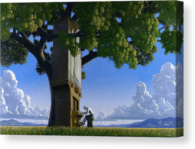 Landscape Canvas Print featuring the painting Bach In Heaven by Jonathan Day