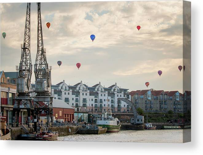 City Of Bristol Canvas Print featuring the photograph Balloons By Bristol Docks by Paul Hennell