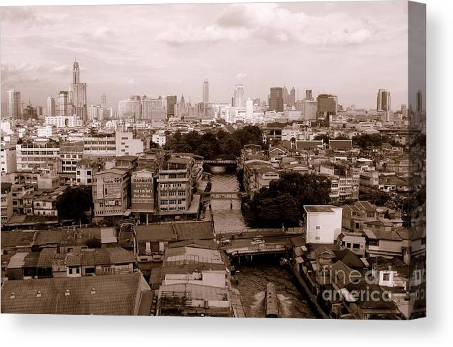 Bangkok Canvas Print featuring the photograph Bangkok City by Lucie Lenzket